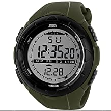 Men'S Military Watch Sports Wristwatches 5Atm Dive Swim Climbing Led Digital Fashion Outdoor Army Green