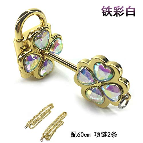 (gold color red iron small ya dream shugo chara couple necklace pendant chain crystal lock plastic packaging (iron color white)