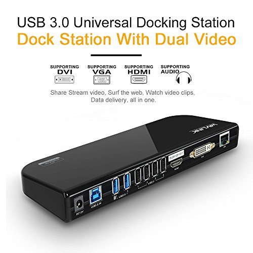 Wavlink USB 3.0 Universal Laptop Docking Station, Dual Video Monitor Display DVI & HDMI & DVI to 2048x1152, Gigabit Ethernet, Audio, 6 USB Ports for Laptop, Ultrabook and PCs-Black