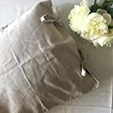 Queen linen pillow sham cover with bow ties, in natural color, 20 X 30'', 100% linen