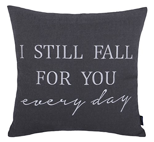 "DecorHouzz Pillow cover Romantic Love Quote Embroidered Throw Pillowcase for Couple Valentine Anniversary Wedding Gift (18""x18"", I still fall (Gray))"