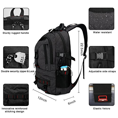 Laptop Backpack, Tocode Travel Backpack Contains Multi-Function Pockets,Stylish Anti-Theft School Bag with USB Charging Port Fits 17.3 Inch Laptop Comfort Pack for Men & Women –Black Update by Tocode (Image #3)