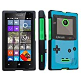 DuroCase ® Microsoft Lumia 435 (Released in 2015) Hard Case Black - (Gameboy Blue)