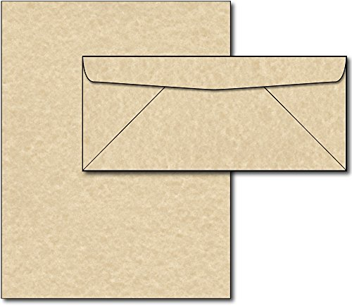 Brown Aged Parchment Style Paper & Envelopes Stationery Set - 40 Sets by Desktop Publishing Supplies, Inc.