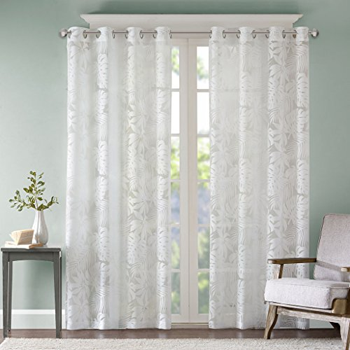 Madison Park Sheer Curtains for Bedroom, Coastal White Sheer Curtain for Living Room, Leilani Coastal Fabric Grommet Curtain Sheers, 50X63, 1-Panel Pack (Rooms Living Coastal Elegant)