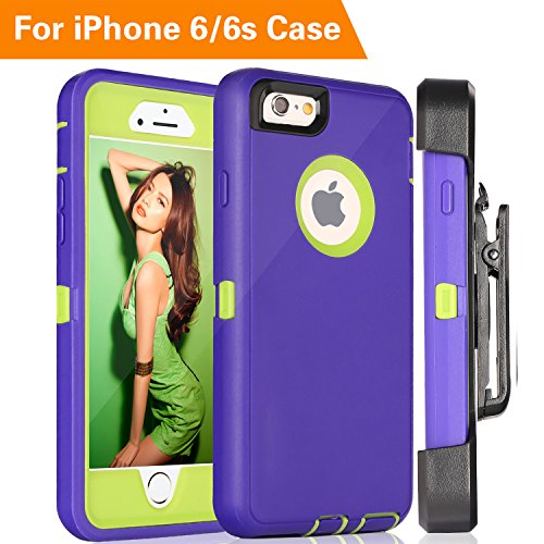 iPhone 6 Case, FOGEEK Heavy Duty Protective Combo Defender 360 Degree Rotary Belt Clip & Kickstand Case Cover Compatible for iPhone 6/6S (NOT Plus) (Green/Purple)