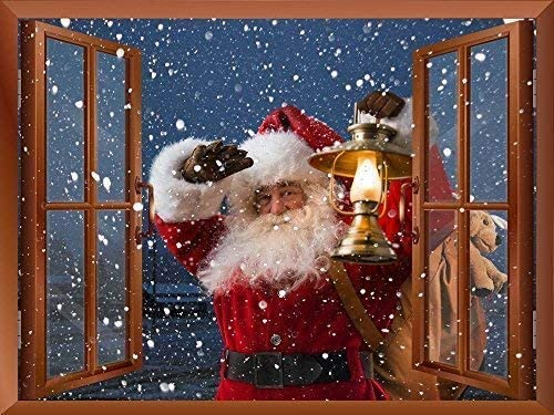 Removable Wall Sticker Wall Mural Santa Claus Carrying Gifts Outside of Window on Christmas Eve