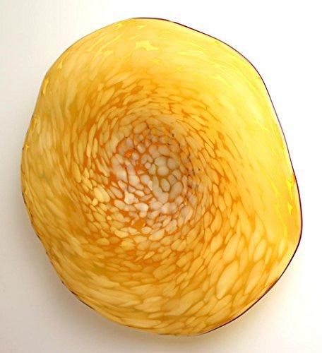 26-Hand-Blown-Art-Glass-Table-Platter-Plate-Amber-w-Wall-Hanging-Mount