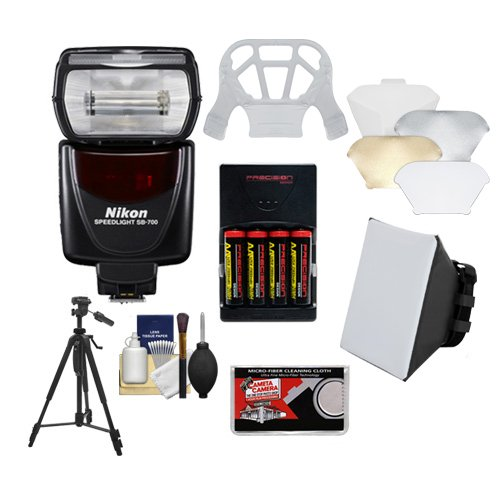 - Nikon SB-700 AF Speedlight Flash with Softbox + Diffuser + (4) Batteries & Charger + Tripod + Accessory Kit for D40, D60, D3000, D3100, D5000, D5100, D7000, D300s, D3 &amp, D3s Digital SLR Cameras.