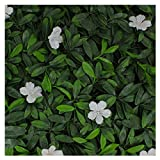 Milltown Merchants Artificial Hedge - Outdoor Artificial Plant - Great Boxwood and Ivy Substitute - Sound Diffuser Privacy Fence Hedge - Topiary Greenery Panels (2, White Cuckoo Flower)