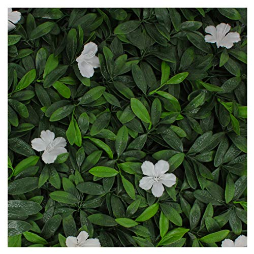 (Milltown Merchants Artificial Hedge - Outdoor Artificial Plant - Great Boxwood and Ivy Substitute - Sound Diffuser Privacy Fence Hedge - Topiary Greenery Panels (12, White Cuckoo Flower))
