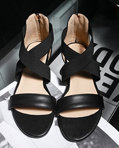 Elatique Aisun Noir Femme Ouvert Sandales Bout Confortable wII1UFxqHn