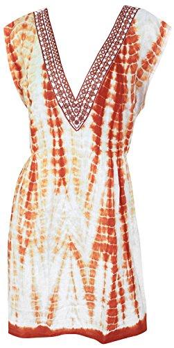 La Leela trajes de baño del bikini aloha encubrir bordado traje de baño de la parte superior elástica caftán naranja | nosotros: