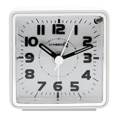 U-needQ Mini Travel Analog Alarm Clock, Non-Ticking- Battery Operated, Quartz Clock with 5 min Snooze- Loud Ascending Sound- Alarm Clocks with Night Light for Traveling, Backpacking(White-Square Dial)