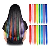 colored FESHFEN 16 Pcs 8 Colors Straight Clip in Hair Extensions Hair Pieces for Kids Grils 20 Inch Long Remy Hair Colored Party Highlights DIY Hair Accessories Extensions