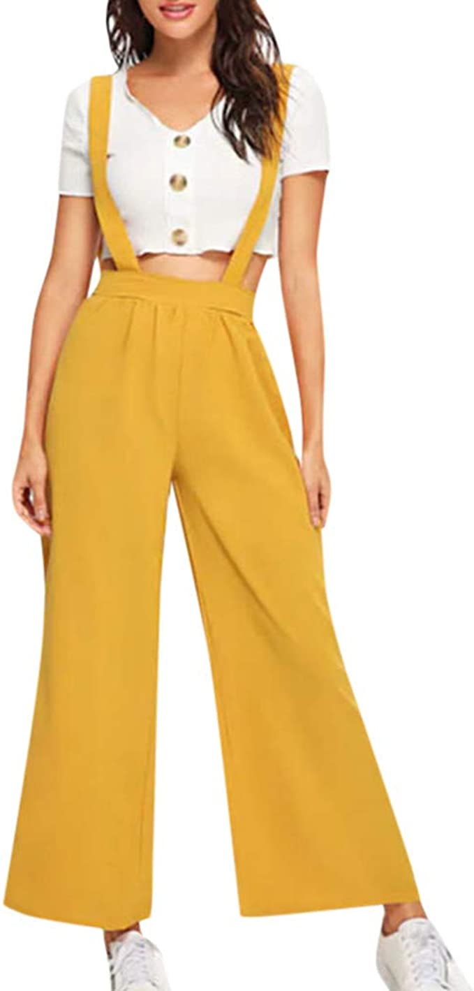 Amazon Com Women Fashion Suspenders Jumpsuit Casual High Waisted Wide Leg Overalls Palazzo Pants Trousers Clothing