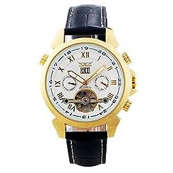 Gute Elegant Auto Mechanical Tourbillon Watch Gold Case White Dial 4 Hands Date Wrist Watch