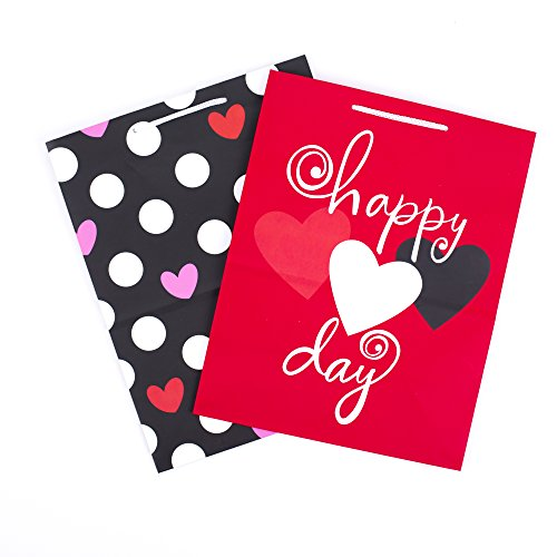 Hallmark Valentine's Day Large Gift Bags (Red Heart & Black Dots, 2 Pack)