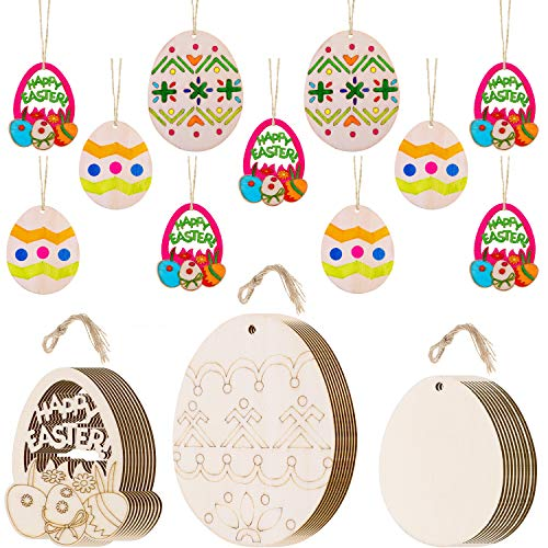 (Chuangdi 28 Pieces Easter Wooden Embellishments Easter Wood Discs Wood Egg Ornament with Hanging Cords for Easter Party)