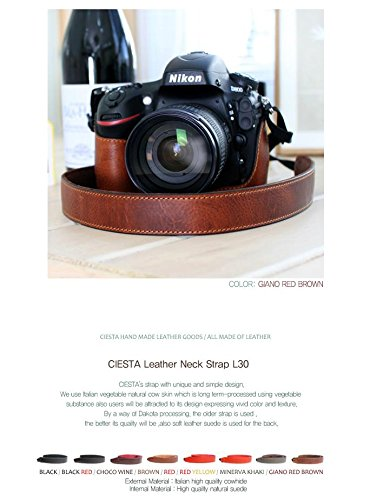 CIESTA Leather Shoulder Neck Camera Strap (Giano Red Brown) for DSLR RF Mirrorless