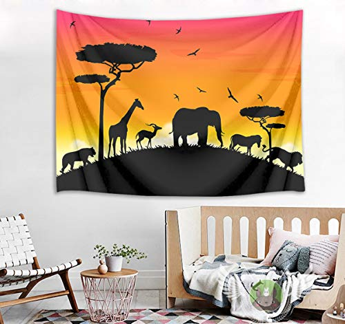 Savannah Poster Bed - HVEST Wild Animal Tapestry Lion Elephant Giraffe in African Savannah Wall Hanging Sunset Scenery Tapestries for Bedroom Living Room Dorm Wall Decor Party Backdrop,60Wx40H inches
