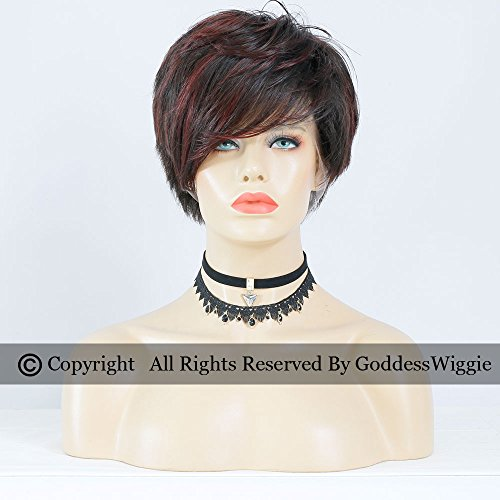 Highlights Dark Wine Short Pob Human Hair Wigs Glueless Full Lace Red Short Cut Lace Wigs (180density) by Goddess