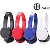 Wholesale Bulk Headphones with Microphone 10 Packs Multi Colored, Durable Heavy-Duty Earphones for Kids School Classroom Students Children and Adult (Mixed Color)