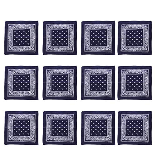 Blue Bandannas 12 Pack Bulk 100% Cotton
