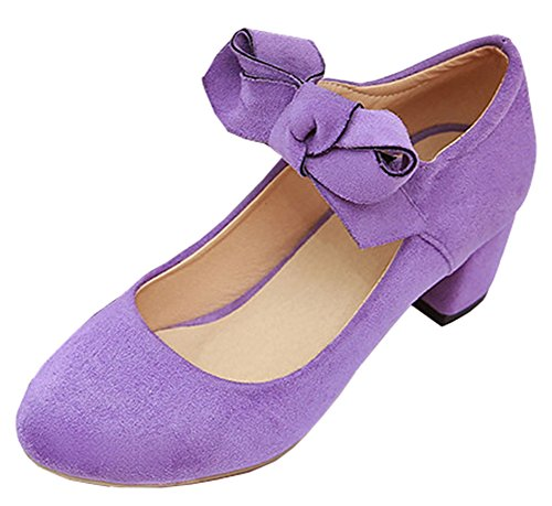 Idifu Womens Dressy Bow Tacco Basso Elastico Medio Tacco Grosso Pumps Shoes Viola