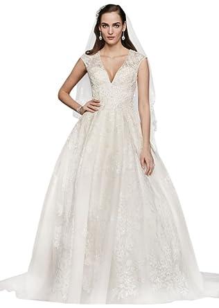 93b09ba4d026 Oleg Cassini V-Neck Cap Sleeve Wedding Dress Style CWG748 at Amazon Women's  Clothing store: