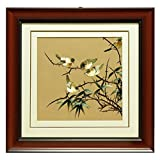China Furniture Online Framed Silk Embroidery, Birds with Bamboo Motif Wall Decorative Brown and Green