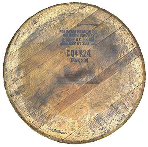 - Jim Beam Bourbon Barrel Lid - Authentic Stamped, Distiller Reclaimed Bourbon Whiskey Barrel Top - Comes Ready to Hang with Barrel Head, Backing Board and Mounting Hardware