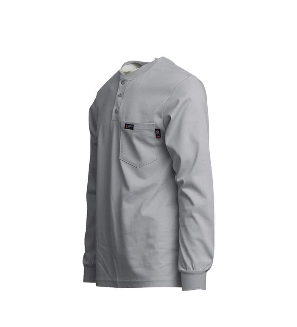 HRC 2 XX-Large 100/% Cotton Jersey Knit Gray 7 oz NFPA 70E Lapco FR FRT-HJE Gry 2XL Flame Resistant Henley Tees