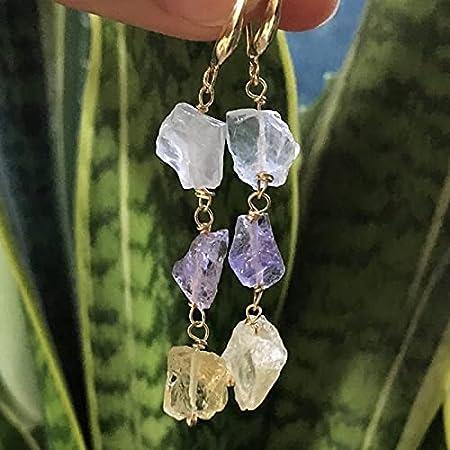 Landia Pendientes de Cuarzo Transparente con Borla de Cristal Largo Mineral de Roca áspera, Pendientes de Cuarzo Citrino de Amatista Natural, Reiki curativo para Mujeres