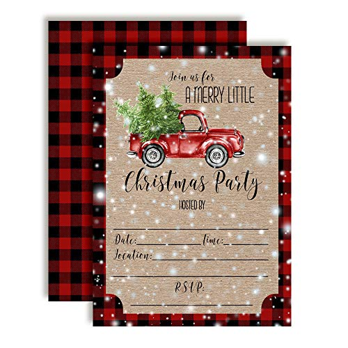 (Watercolor Red Pickup Truck Christmas Holiday Party Invitations, 20 5
