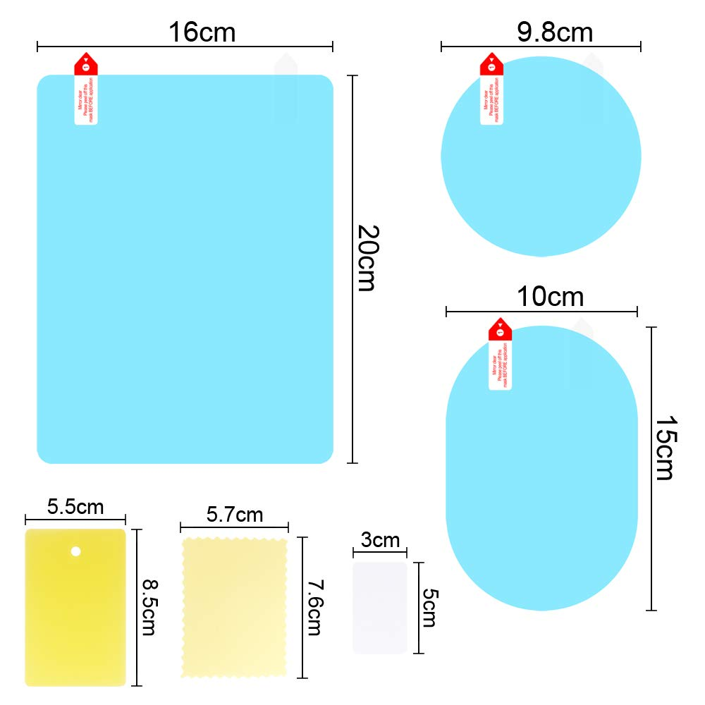 HD Clear Rainproof Film Anti Glare Anti Fog Waterproof Film for Car Mirrors and Side Windows 6 PCS 3 Size Car Rearview Mirror Protective Film