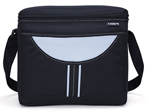 Soft Lunch Box Lunch (MIER Insulated lunch Box Bag Adult Men and Women Soft Cooler Bag with Shoulder Strap, Leakproof Liner, 16can(Black))