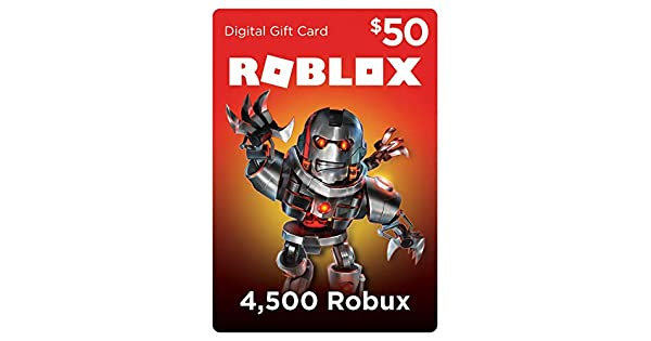 Amazoncom Roblox Gift Card 4500 Robux Online Game Code - roblox gift card 50 get on online