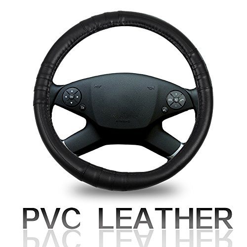 ECCPP Steering Wheel Cover 15 Inch Universal PVC Leather - Black Car Steering Wheel Cover