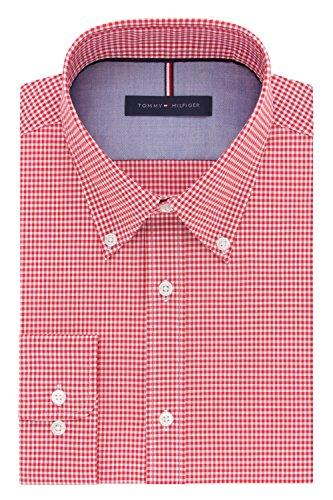 Tommy Hilfiger Men's Non Iron Slim Fit Gingham Buttondown Collar Dress Shirt, Lava, 17.5