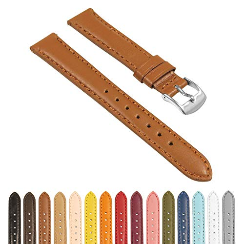 StrapsCo Classic Women's Leather Watch Band - Quick Release Strap - 10mm 12mm 14mm 16mm 18mm 20mm 22mm 24mm ()