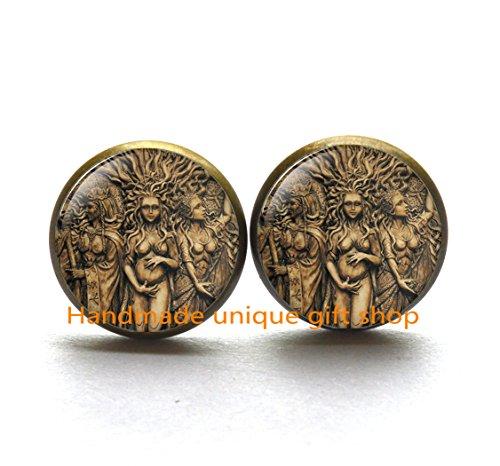 Dainty Earrings, Delicate Earrings,Triple Goddess Earrings, Wiccan jewelry, Moon Goddess jewelry, Wiccan Earrings, Goddess Earrings Goddess ()