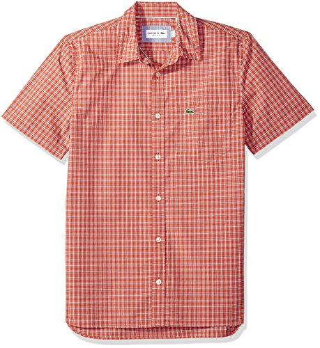 Lacoste Mens Short Sleeve Poplin Check Button Down Collar Reg Fit Woven Shirt, CH4967