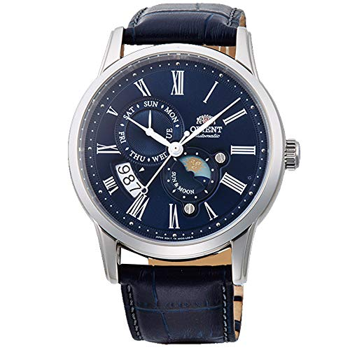 Orient Men's Sun and Moon Version 3 Stainless Steel Japanese-Automatic Watch with Leather Calfskin Strap, Blue, 20 (Model: FAK00005D0