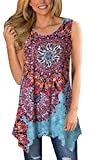Moskill Womens Tunic Tops Sleeveless Floral Print Tank Boho Casual Loose Tshirts Blouse (L, Sky Blue)