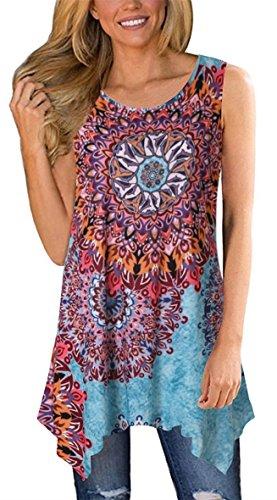 (Moskill Womens Tunic Tops Sleeveless Floral Print Tank Boho Casual Loose Tshirts Blouse (L, Sky Blue))