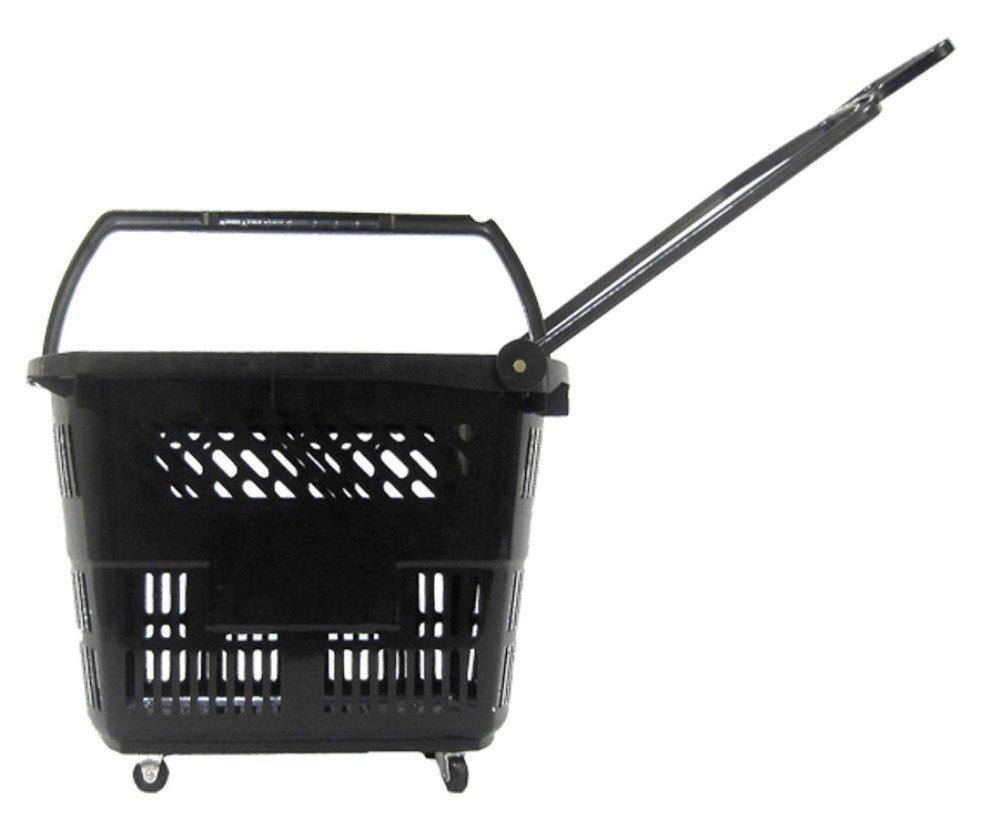 Glopack RB33BLACK 33 8.75-Gallon Roller Basket, 19.5'' Length X 14.25'' Width x 14.5'' Height, Black (Case of 10)