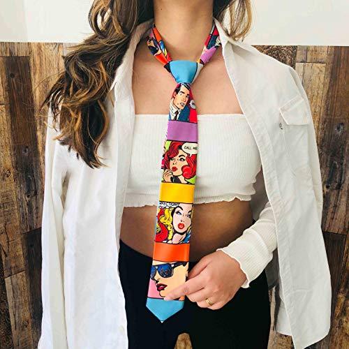- Retro Colour Block Graphic Tie| Vintage Print Statement Tie| Quirky Suit Accessories| Cosplay Costume Tie| Fun Groomsmen Tie