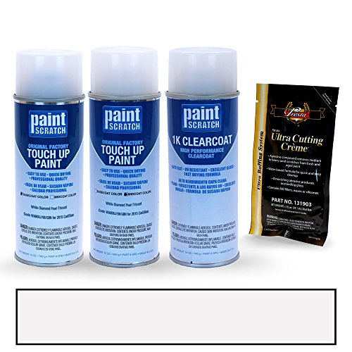 PAINTSCRATCH White Diamond Pearl Tricoat WA800J/98/GBN for 2015 Cadillac Escalade - Touch Up Paint Spray Can Kit - Original Factory OEM Automotive Paint - Color Match Guaranteed