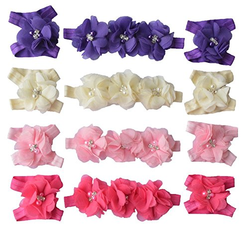 Qandsweet Baby Girl's Hairbands Crystal Barefoot Flowers (4 (Baby Pink Crystal)